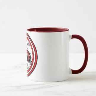 Caneca Design ornamentado da pá branco/vermelho/preto