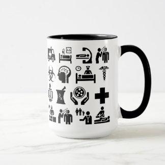 Caneca Design preto e branco corajoso dos ícones médicos