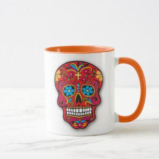 Caneca Dia mexicano vermelho do crânio do açúcar do morto