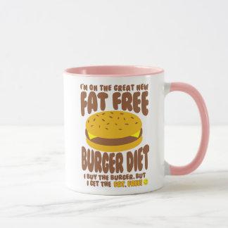 Caneca Dieta livre de gordura do hamburguer