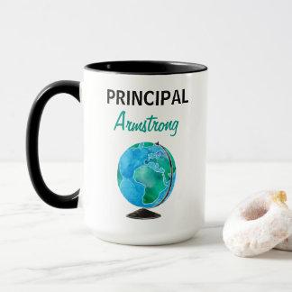 Caneca Director de escola personalizado globo da aguarela