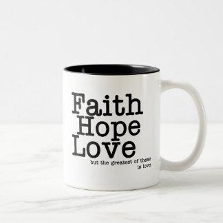 Caneca do amor da esperança da fé