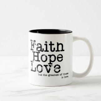 Caneca do amor da esperança da fé do vintage