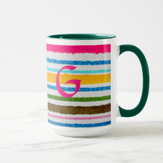 Caneca do café ou do chá com G, interior verde