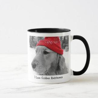 Caneca do cão do esqui do golden retriever
