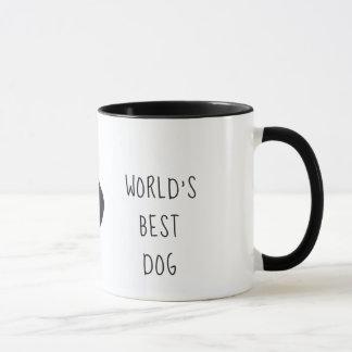 caneca do cão do mundo a melhor, copo branco preto