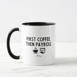 Caneca do contador da folha de pagamento, primeiro