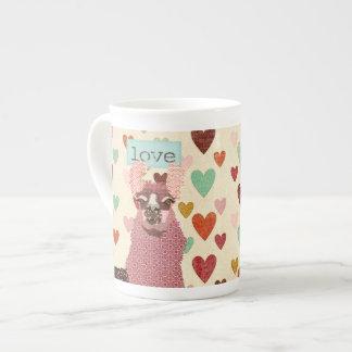 Caneca do coração do amor do lama bone china mug