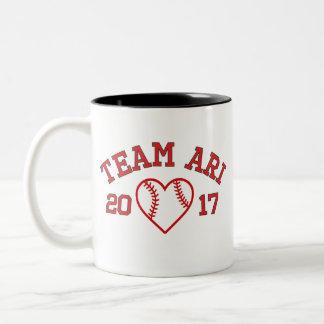Caneca do coração do basebol de Ari da equipe