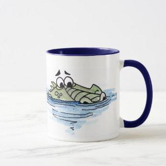 Caneca do crocodilo da natação