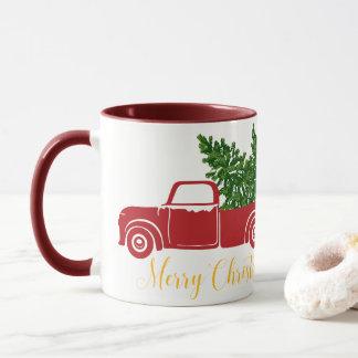 Caneca do Dois-Tom do caminhão da árvore de Natal
