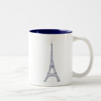 Caneca do Dois-Tom do marinho de Paris da torre