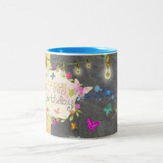 Caneca do feliz aniversario - abstrato - borboleta