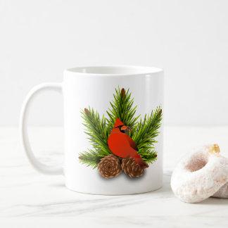 Caneca do feriado do cardeal e do Natal de
