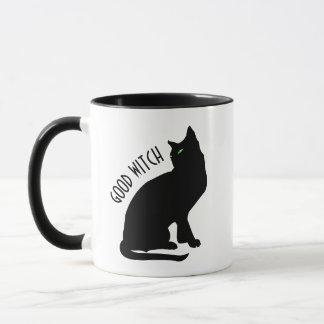 Caneca do gato preto da bruxa do Dia das Bruxas