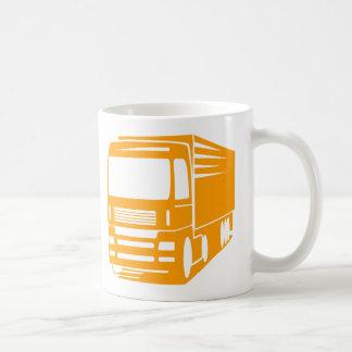 Caneca do logotipo do transporte e do caminhão da