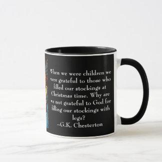 Caneca do Natal com citações de G.K. Chesterton
