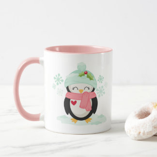 Caneca do Natal com pinguim bonito