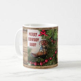Caneca do Natal do vaqueiro - bota de vaqueiro