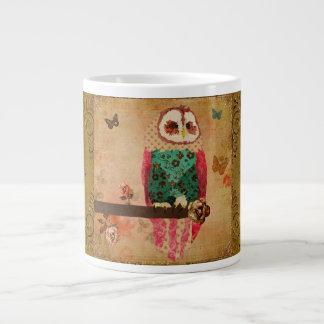 Caneca do ouro da coruja de Rosa Caneca De Café Muito Grande