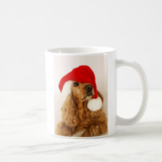 Caneca do papai noel do Natal de cocker spaniel