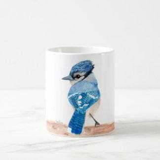 Caneca do pássaro da aguarela: Jay azul
