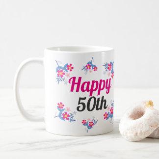 Caneca do presente de aniversário do rosa elegante