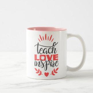 Caneca do professor - ensine o amor inspiram -