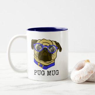 Caneca do Pug, Pug com vidros, caneca do