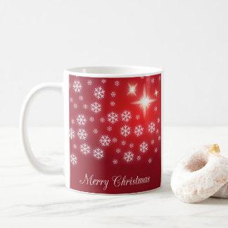 Caneca do vermelho do floco de neve do Feliz Natal
