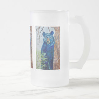 Caneca do vidro de fosco com imagens do urso