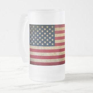 Caneca do vidro de fosco da bandeira americana do