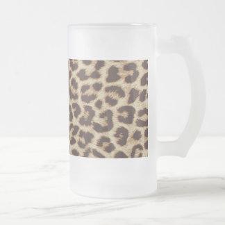 Caneca do vidro de fosco do impressão do leopardo