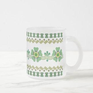 Caneca do vidro de fosco - flor verde retro