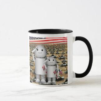 Caneca Dois robôs patrióticos pequenos com lotes dos