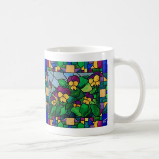Caneca dos Pansies do vitral