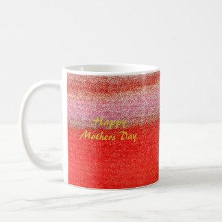 Caneca dourada vermelha do feliz dia das mães