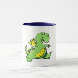 Caneca Dragão verde dos desenhos animados que anda em