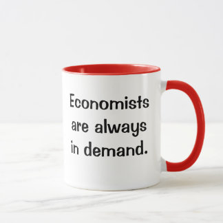 Caneca Economistas na procura. Slogan espirituoso das