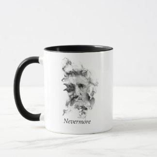 Caneca Edgar Allan Poe no fumo com corvo - nunca mais