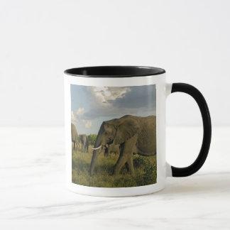 Caneca Elefantes africanos que pastam, africana do