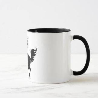 Caneca Elevação preta do cavalo do amante dos animais |