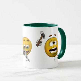 Caneca Emoticon desajeitado, estilo dos desenhos animados
