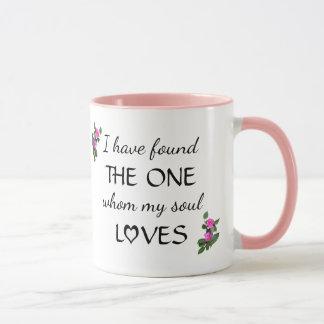 Caneca encontrada amor do verso da bíblia