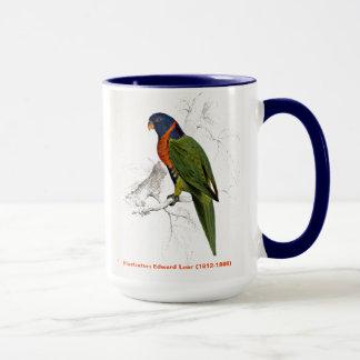 Caneca Escarlate do Parakeet colocado um colar do pássaro