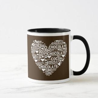 Caneca escura do amor do cacau do chocolate quente