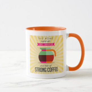 Caneca Estes home run no riso do amor e nos lotes do café