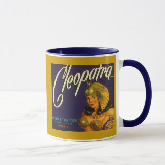 CANECA ETIQUETA DA CAIXA DO CITRINO DE CLEOPATRA DO