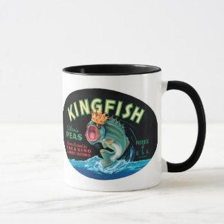 Caneca Etiqueta das ervilhas do Kingfish do vintage -