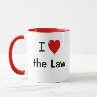 Caneca Eu amo a lei mim coração as citações do advogado
